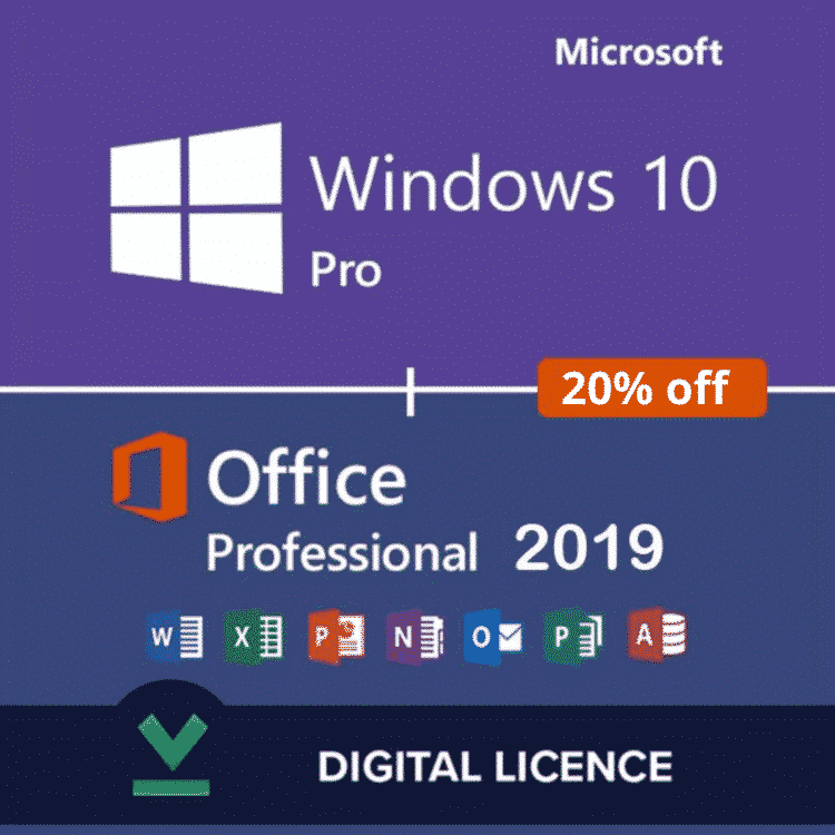 Windows 10 Pro and Office 2019 Professional Plus Activation COMBO PACK
